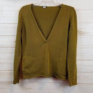 J.Crew mustard v neck cotton sweater size M
